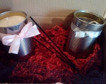 Set Box 2 candles + incense aloe vera, gift to offer, candle in natural colza wax, scented candle and personalized, recycled box