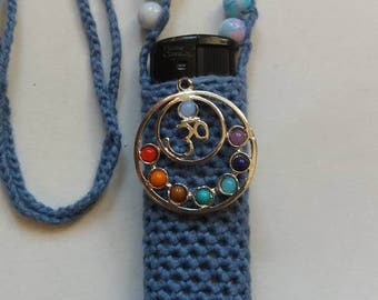 Blue Ohm&Chakra's, handmade crochet lighter cozy.