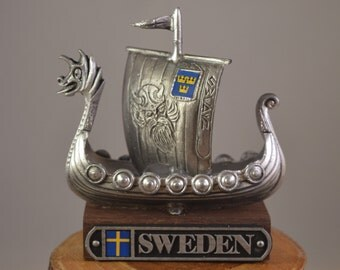 Vintage pewter sweden boat,ship,miniature.