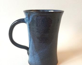 Tall blue stoneware mug