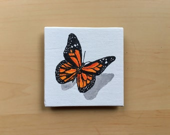 Mini canvas magnet, mini painting, butterfly magnet, butterfly painting, canvas magnet, fridge magnet, housewarming gift