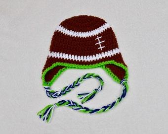 Baby Football Beanie, Seahawks Inspired Crochet Football Earflap Beanie