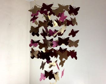 Gold and red Butterfly Nursery mobile, Fluttering Butterfly paper mobile. Wedding decor, baby shower decor, baby nursery, choose your colors