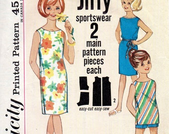 Simplicity 4965, Jiffy Sportsware, Girls Beach dress, Top Shorts, Sleeveless Dress, Bateau Neckline, Size 6, 1960s Pattern, Summer Vintage