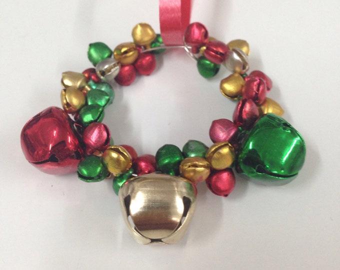 Festive jingle bells wreath Christmas tree ornament, red green gold jingle bells Christmas tree ornaments, Christmas wreath, Christmas decor