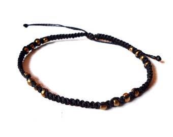 Black gold beaded macrame anklet  - beach surf gypsy mediterranean anklet - adjustable woven ankle bracelet