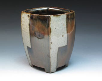 Jeff Oestreich Stoneware Altered Vase, Student of Warren MacKenzie, Apprentice at the Leach Pottery 1969-71
