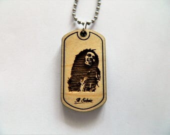 BOB MARLEY reggae rasta jamaica wood DOGTAG tribute music artists