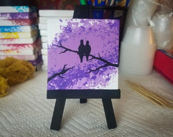 Love Birds 2.5x2.5 stretched canvas art tiny painting purple