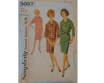 """Vintage 60's Simplicity 5057 Pattern Pullover Jumper Dress, Top Blouse Shirt and Skirt Bust 38"""""""