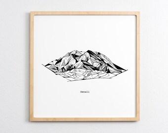 Denali Alaska Polygonal Mountain Drawing - Art Print