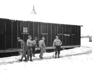 "Vintage Photo ""In The Snow"" military, antique, old photo, black and white photo, snapshot, photography, paper ephemera"