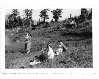 "Vintage Photo ""By The Lake"" ladies, women, baby, old photo, black and white photo, snapshot, photography, paper ephemera, antique"