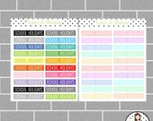 School Holidays | 2 Colours | Planner Stickers