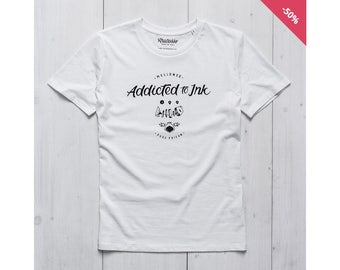 Man Graphic tee White Organic Cotton - Addicted to Ink