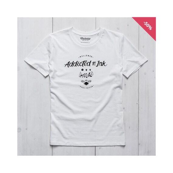 Man Graphic tee White Organic Cotton - Addicted to Ink...