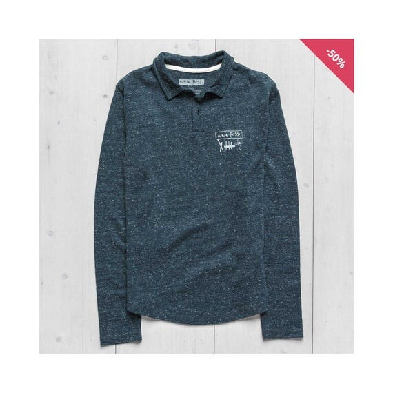 Man Long Sleeve Printed Sweatshirt - Long Sleeve Polo dark heather den...