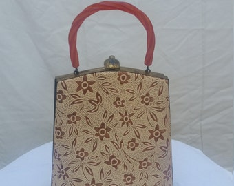 Vintage Burnt Orange and Cream Purse with Brass Accents and Lucite Handle