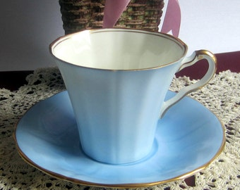 Adderley 116/8 Flat, Shaded Light Blue Bone China Cup and Saucer