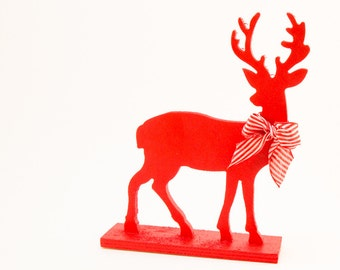 Red Candy Stripe Reindeer Holiday Decoration striped Ribbon bow Handpainted Wood Deer Woodland Christmas Decoration