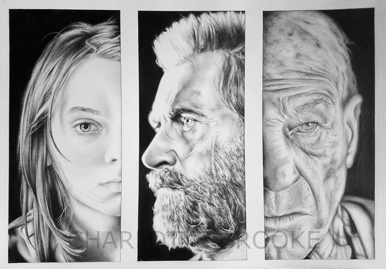 Xavier color printing - Laura X 23 Logan And Charles Xavier Pencil Portrait Drawing Print