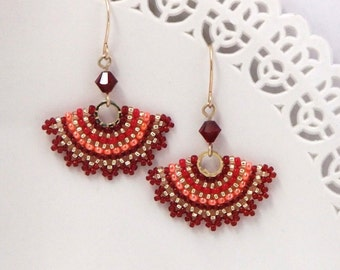 Red earrings, Red dangle earrings, Orange earrings, Fan earrings, Seed bead earrings, Red and gold earrings, Unique jewelry women