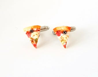Miniature Supreme Pizza Cufflinks-Miniature Cufflinks-Miniature food cufflinks, mini food jewelry, mini chips, cufflinks,snacks, yellow