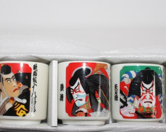 Vintage Set of Five Japanese Men White Porcelain Sake Shot Glasses In Original Box
