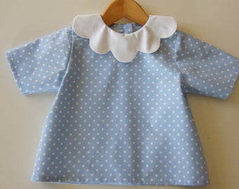 Blue cotton with white polka dots, 3/6/12/18 months petal collar blouse 2 years