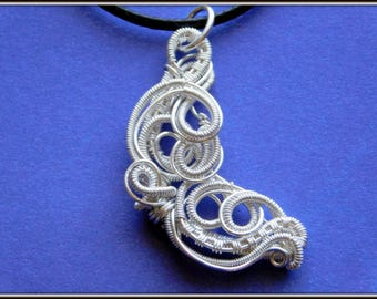 Wire Wrapped Moon Pendant, Silver Moon Pendant, Crescent Moon Necklace, Wire Woven Moon Pendant, Wire Wrapped Jewelry, Handmade Jewelry