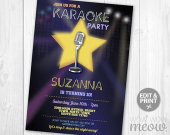 Karaoke Party Invitations Disco Girl's Star Singing Birthday Invites INSTANT DOWNLOAD Dance Microphone Edit Personalize Editable Printable