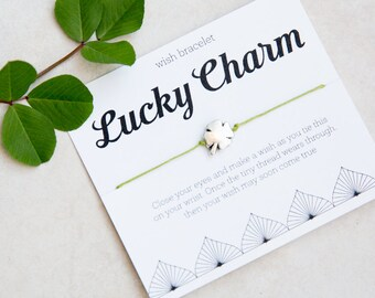 Lucky Charm Wish Bracelet, Irish Luck, four leaf clover, Silver Clover Bracelet, String Bracelet, Birthday Gift for him, Gift for child