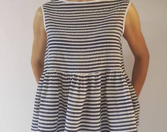 Striped cotton top, sleeveless tops, casual Top, Top Top tailored sporty look, blue cotton summer Shirt Sleeveless Top, ivory