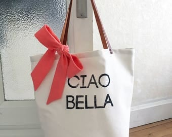 Tote Bag Ciao Bella - bag handmade with a node in decorative linen and an inner pocket with