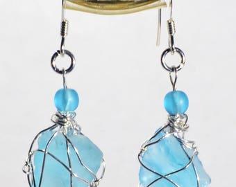Genuine Maine Aqua Sea Glass 925 Sterling Silver Earrings