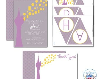 Rapunzel Party Package, Editable Tangled Invitation, Tangled Birthday Party, Rapunzel Birthday Invitation