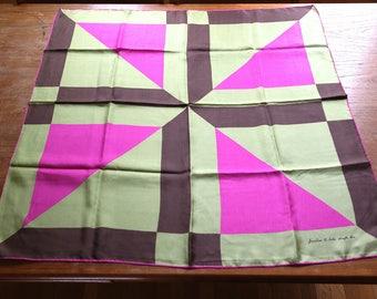 Vintage Echo Silk Scarf Junction @ Echo Scarfs Inc. Japan Green Brown Pink Fuschia Geometric Triangles
