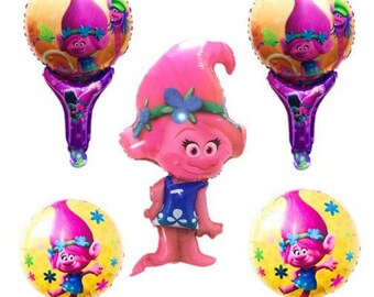 5pcs Trolls Balloons, Troll,Balloons, Baby Shower Balloons,Birthday Balloons, Party Balloons,Trolls Party,Photo Prop,Troll Doll,Trolls Toys
