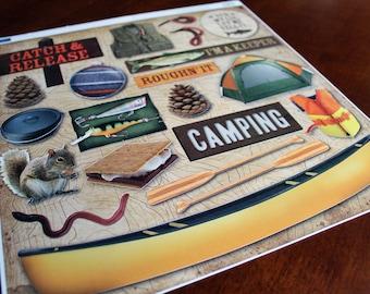 Karen Foster Camping Sticker Sheet 12x12 Roughin It Great Outdoors Camp Destash