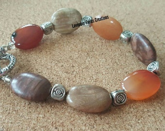 Agate Amber Stone Bracelet with Silver Accents and Toggle Clasp (201743B)