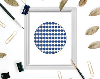 Moroccan Print, Moroccan Poster, Blue Moroccan Digital Print, Quatrefoil Wall Art, Quatrefoil Print, Blue Geometric Art Geometric Wall Decor