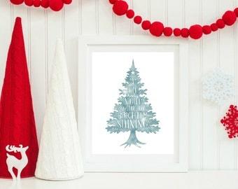 ChristmasTree Decor, Christmas Decoration, O Holy Night Sign, Watercolour Christmas Print, Christmas Tree Decoration, Holiday Home Decor