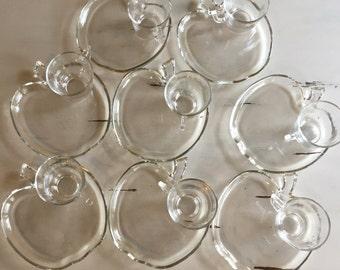Sixteen Piece Glass Apple Snack Set