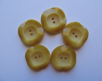 1950's Vintage Set of Medium Wavy 2-Tone Yellow Flower Coat Jacket Buttons-'Periwinkles' Garden Collection 27mm