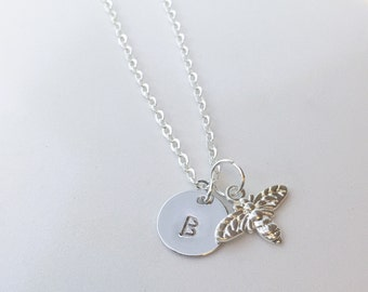 Silver Plated Busy Bee Necklace - Optional Extra Personalised Initial Disc