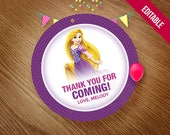 RAPUNZEL Printable Favor Tags, Thank You Tags, Rapunzel Birthday Party Theme, Printable Stickers, Center Piece, Princess, Instant Download