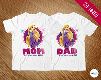 Rapunzel T-Shirts Mom & Dad, Rapunzel Princess Transfer Iron On T-Shirt, Birthday Party Theme, Printables, Favors, Package, INSTANT DOWNLOAD