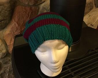 Hand-Knit Hat - Large Blue/Magenta Stripes