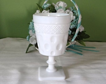 White Milk Glass goblet vintage 1960s home decor wedding decor center piece