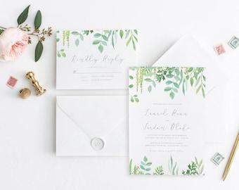Printable Greenery Wedding Invitation Suite, Wedding Invitation Greenery, Floral Garden Wedding, Botanical Wedding, Eucalyptus Invitation